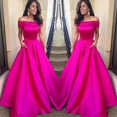 Custom Made Fuchsia A-line Off-shoulder Floor Length Prom Dress Wedding Party Dress