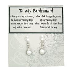 Faux Pearl Bridesmaid Earrings With Card Kit - OrientalTrading.com