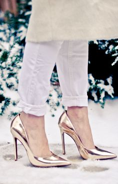 gold pumps and winter white