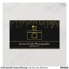 Shop Gold Sparkle Camera Photographer Business Card created by Lets_Do_Business. Photographer Business Cards, Photography Business, Gold Sparkle, Things To Come, How To Make, Prints, Color, Fotografie, Colour