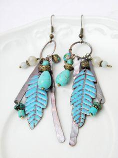 Enamel earrings tribal earrings feather by Doorsignforyou