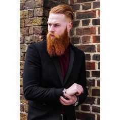Gwilym Pugh - full thick red beard mustache beards bearded man men mens' style suit tie suits fashion clothing redhead ginger handsome #beardsforever