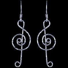 Sterling silver earrings violin clef