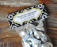 PRINTABLE CANDY BAG labels Black and White Damask 50th Wedding Anniversary - Memorable Moments Studio by MemorableMomentsSt on Etsy