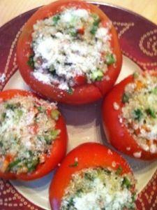 Vegetarian stuffed tomatoes! yum!