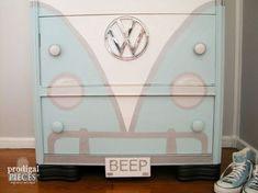 This curb side dresser rescue received some VW treatment and is absolutely adorable!