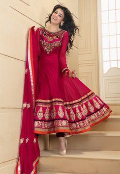 Rani Pink Faux Georgette Anarkali Churidar Kameez Online Shopping: KDS533