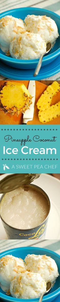 This Pineapple Coconut Ice Cream tastes just like a piña colada in a bowl. Ice Cream recipe and photos by Lacey Baier | www.asweetpeachef.com