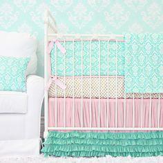 Delilah's Pink and Aqua Damask Tutu Petti Crib Skirt™ Crib Bedding Swatch Kit