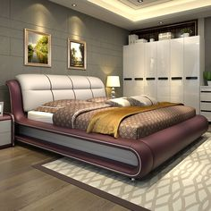 high quality bedroom furniture genuine leather bed only with storage