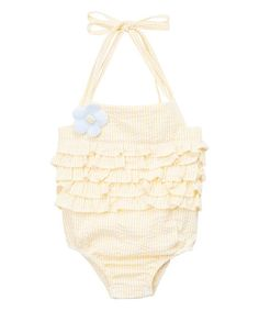 Tutus by Tutu AND Lulu Yellow Stripe Flower Romper - Infant & Toddler | zulily