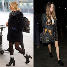 hooded peacoat over sweater, tights, heeled boots, thick socks, backpack