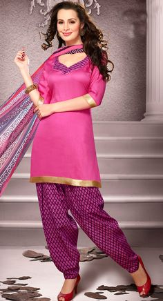USD 20.13 Light Pink Cotton Patiala Salwar Kameez 43458
