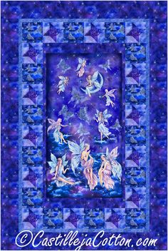 """Fairy panel with simple star block and alternating fairy block borders. Pieced lap/throw panel quilt pattern. Fabric shown in the sample quilt is Timeless Treasures Fabrics Fairy Soiree. Finished Size: Lap/Throw 48"""" x 72"""" Skill Level: Advanced Beginner Technique: Pieced Panel Quilts, Fairies, Quilt Patterns, Quilting, Projects, Faeries, Log Projects, Blue Prints, Quilt Pattern"""