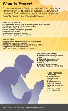 What is prayer? The Bible tells us the purpose, hindrances, way to pray, and God's response to prayer. Check out this image from the NIV Quickview Bible that covers all of these topics with references from scripture.