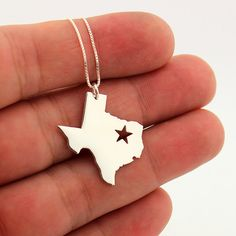 State necklace Texas necklace sterling silver Texas state necklace with Star comes with Box chain (org 1) by Silversmith925 on Etsy