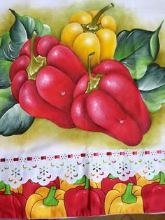 pimientos One Stroke Painting, Fruit Painting, Fabric Painting, Pencil Sketch Drawing, Chicken Art, Borders For Paper, Kitchen Wall Art, Cool Paintings, Pictures To Paint