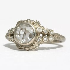 White gold and diamond engagement ring by Megan Thorne #weddings