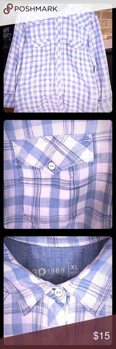 Gap 1969 button down top Great condition! Gap 1969 button down plaid top Great condition! This is an XL, however must run small because my normal size is Medium The colors are light blue/white plaid Smoke free home GAP Tops Button Down Shirts