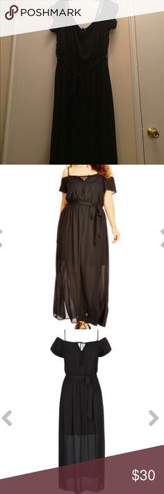 City Chic Cold Shoulder Maxi Dress Plus Size City Chic Cold shoulder Maxi Dress in Black. Size M/18.  Fun and flirty maxi dress for all seasons!!! Dress up or dress down! Adjustable straps..sash tie at waist...lined skirt underneath hits at knee. Perfect condition ...worn only once and received tons of compliments!! City Chic Dresses Maxi