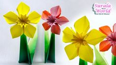 Origami - Daffodil, Narcissus (Paper Flower)