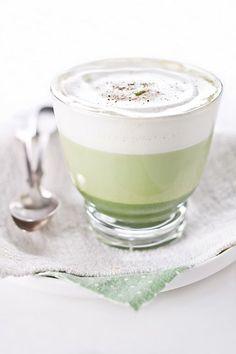 Matcha GreenTea Latte ingredients: 1 teaspoon of matcha green tea - 3 tablespoons hot water - 1-2 teaspoons of honey - 150 ml of skim milk (or soymilk) - pinch of nutmeg
