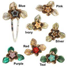 Handmade Ardent Designs Miriel Copper and Glass Flower Hair Clips