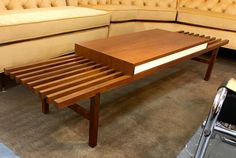 Mid Century Slat Bench Coffee Table With Drawer  1950's Rare!   Martin Borestein For Brown Saltman   6' Long   $1295  Mid Century Dallas Booth 766  Lula B's 1010 N. Riverfront Blvd. Dallas, TX 75207