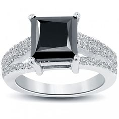 3.85 Carat Princess Cut Natural Black Diamond Engagement Ring 14k White Gold