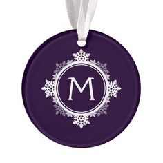 Snowflake Wreath Monogram in Dark Purple & White