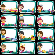 Illustration of blackboard frames clip art set vector art, clipart and stock vectors.
