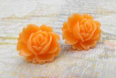 Stud Earrings  Peach Ear Blooms  Blooming Roses  FREE by ladeebee, $8.00