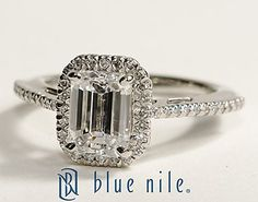Emerald Cut Halo Diamond Engagement Ring in Platinum #BlueNile