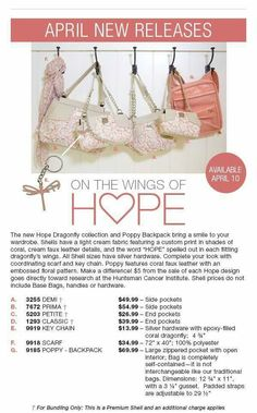 "On the wings of ""Hope"" order your shell!!!!!Do you see Hope???   A portion of the proceeds from the sale of the Hope items is donated to Cancer research. Order at https:sandrasgotmy.miche.com please attach your order to the party."
