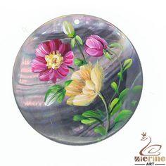 Fashion Necklace Hand Painted Flower Natural Black Lip Shell  Pendant  ZL301380 #ZL #Pendant
