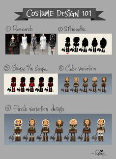 grizandnorm: Tuesday tips — Costume Design 101. Costume design is a very important part of character design. It tells you a whole lot about your character; ie. age, personality, what she/he likes, time period, strength, … etc. It supposed to enhance a character's personality. Here are my process in tackling costume design. 1. Find a good reference. Inspiration is key! 2. Look for a good silhouette that is recognizable and different from other characters. 3. Pick one silhouette and ...