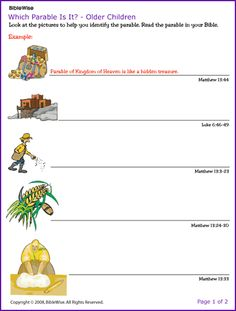 Which parables is it? This site has lots of printable pages for many Bible stories Bible Stories For Kids, Bible Lessons For Kids, Bible For Kids, Sunday School Teacher, Sunday School Crafts, Parables Of Jesus, Catholic Kids, Children's Bible, Bible Verses