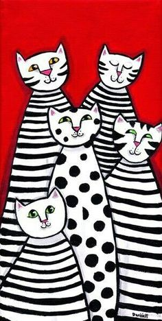 Jazz Cats black white stripes polkadots PRINT Shelagh Duffett - Kunst - Katzen World Jazz Cat, Arte Elemental, Classe D'art, Art Populaire, Art Abstrait, Art Classroom, Art Plastique, Art Activities, Teaching Art