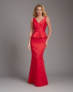 Allure 1360 Structured crisp satin is the perfect fabric for a peplum silhouette, causing the subtle tucks and ruffles to hold their shape perfectly on this sleeveless long V neck bridesmaid gown. Peplum Bridesmaid Dresses, Prom Dresses, Formal Dresses, Wedding Dresses, Pageant Gowns, Bride Dresses, Formal Wear, Bridal And Formal, Mermaid Evening Dresses