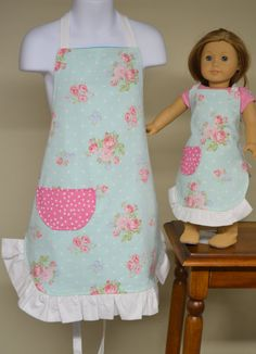 Little Girl Matching Aprons Doll and Me Aprons by ApronStyle