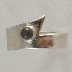 Ring in Fine Silver featuring Grey Moonstone HANDMADE Hallmarked £60.00