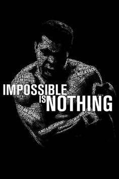 B177 Boxing King Ali Muhammad impossible is nothing Poster Art Wall Pictures for Living Room in Canvas fabric cloth Print