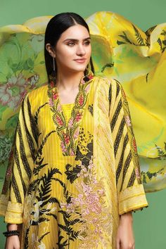 Nishat Linen Spring Summer Collection comprises of unstitched & ready to wear the variety of best lawn dresses, shirts, fabrics, pret suits, etc. Lawn Suits, Summer Collection, Indian Fashion, Ready To Wear, Spring Summer, Saree, Fabric, How To Wear, Shirts