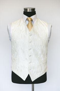 Ivory Sophia Waistcoat with Gold Tie Putting On The Ritz, Put On, Wedding Waistcoats, Gold Tie, Men's Style, Ivory, Vest, Mens Fashion, Suits