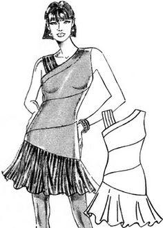 dessiner un patron de robe asymétrique avec volant en bas