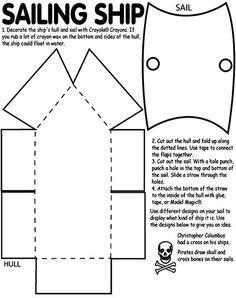 DIY create your own 3D pirate ship- Maybe we can expand this pattern to make a lifesize ship out of cardboard? Deco Pirate, Pirate Day, Pirate Birthday, Pirate Theme, Boat Crafts, Pirate Crafts, Activities For Kids, Crafts For Kids, Bateau Pirate