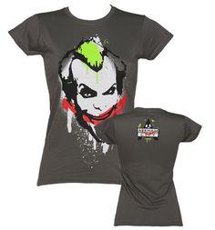 Ladies Grey Batman Joker Graffiti T-Shirt : TruffleShuffle.com