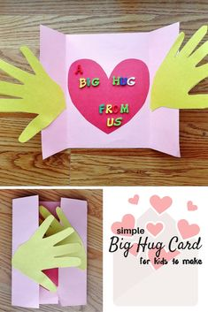 grandparents day crafts A Big Hug Card Craft for Kids - Munofore A Big Hug Card craft for kids - simple card to show they care about someone. Roses Valentine, Funny Valentine, Valentine Day Cards, Valentines, Printable Valentine, Valentine Crafts For Kids, Mothers Day Crafts For Kids, Fathers Day Crafts, Mothers Day Diy Gifts