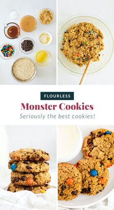 These flourless monster cookies are made with oats, peanut butter, chocolate chips, and M&M's. They're soft, chewy, and so delicious. Peanut Butter Oatmeal, Peanut Butter Chips, Healthy Cookies, Healthy Sweets, Healthy Foods, Healthy Eating, Gluten Free Deserts, Vegan Desserts, Sweets Recipes