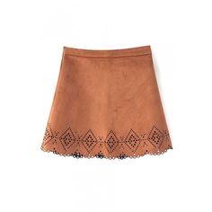 Plain Zip Side Hollow Hem Mini A-Line Skirt ($17) ❤ liked on Polyvore featuring skirts, mini skirts, beautifulhalo, bhalo, brown a line skirt, zip skirt, zipper mini skirt and zipper skirt